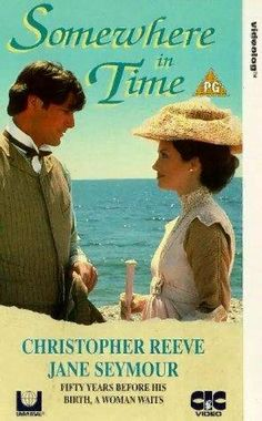 Somewhere in Time (1980) A romance film directed by Jeannot Szwarc.   The film stars Christopher Reeve, Jane Seymour, Christopher Plummer, Teresa Wright, and Bill Erwin.  Richard Collier, (Reeve) a playwright who becomes smitten by a photograph of a young woman at the Grand Hotel. Through self-hypnosis, he travels back to 1912 to find love with actress Elise McKenna (Jane Seymour). But her manager William Fawcett Robinson (Christopher Plummer) fears that romance will derail her career.