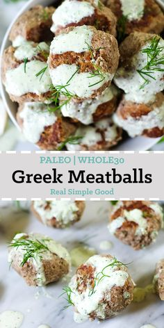 Greek Meatballs (Instant Pot - Paleo, + Keto) These Greek meatballs with a creamy Tzatziki sauce are such a flavorful meatball concoction! They are an easy Instant Pot meal and no one would ever know that they are Paleo and This is a quick Whole 30 Recipes, Greek Recipes, Whole Food Recipes, Cooking Recipes, Cooking Courses, Cooking Pork, Cooking Wine, Cooking Games, Cooking Utensils