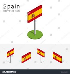 Spanish flag (Kingdom of Spain), set of isometric flat icons, 3D style, different views. Design elements for banner, website, presentation, infographic, map, digital projects. Raster illustration