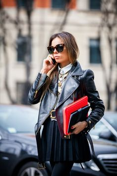 a leather biker jacket paired with a black pleated mini = YES #fashion