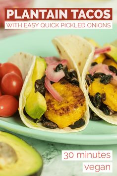Sweet tender maduros with tangy pickled onions earthy black beans and creamy avocado. These plantain tacos are a flavor explosion! Vegan Dinner Recipes, Vegan Snacks, Vegan Recipes Easy, Raw Food Recipes, Breakfast Recipes, Vegetarian Options, Vegan Meals, Healthy Meals, Healthy Food