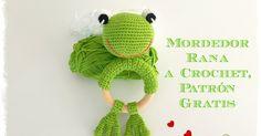 Mordedor ranita a crochet, ideal para bebés, con su correspondiente patrón gratuito.