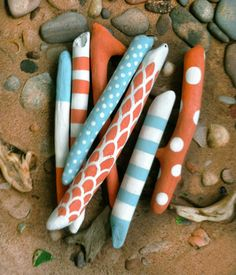 Fun color for fairy garden - painted driftwood sticks