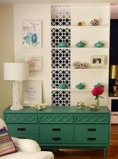 Totally stealing this idea with a rast dresser from Ikea with emerald green paint (2, one on either sides of the bed)