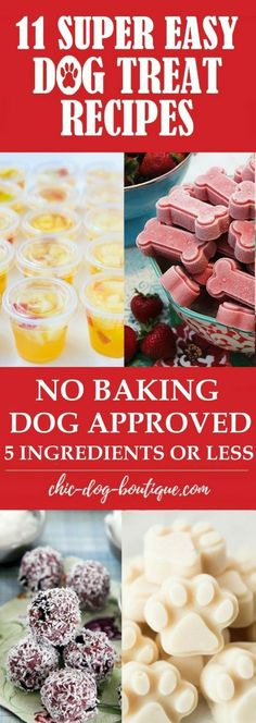 Do you love making Dog Treats? Making Homemade Dog Treats is even more simple wh you don't have to bake anything! Check out these 11 Super Easy Dog Treat Recipes that you can make in 15 minutes or less out of common foods from your pantry. Puppy Treats, Diy Dog Treats, Healthy Dog Treats, No Bake Dog Treats, Treats For Puppies, Homemade Dog Cookies, Homemade Dog Food, Dog Biscuit Recipes, Dog Food Recipes