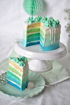 Caketime by Tamaris: aqua ombre cake. Cake Decorating For Beginners, Easy Cake Decorating, Floral Wedding Cakes, Floral Cake, Cake Wedding, Sweet 16, Frog Cakes, Homemade Birthday Cakes, Best Party Food