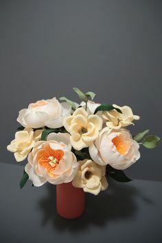 Crepe paper peony & spray rose arrangement, handmade by Papetal