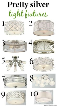 10 Pretty, Close To The Ceiling Silver Light Fixtures
