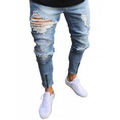 YYG-Men Ripped Destroyed Straight Leg Skinny Fit Stretch Biker Denim Jeans Pants