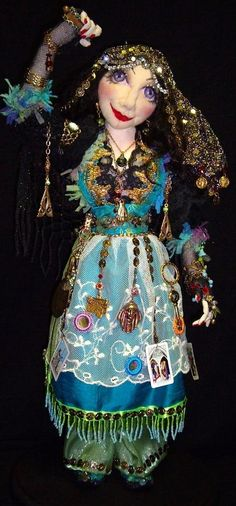 Gypsy Jewel 16 Inch Cloth Art Doll Designed and Made by candy4me, $400.00