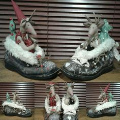 Vintage skiing shoes wiht reindeers. 😊 Christmas Deco, Reindeer, Skiing, Vintage, Shoes, Christmas Decor, Ski, Zapatos, Shoes Outlet