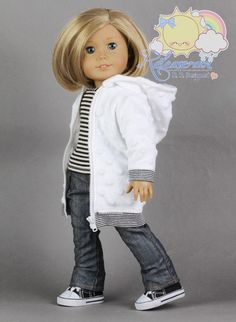"Long Hoodie Jacket Clothes Outfit White Raised Dots for 18"" American Girl Dolls 