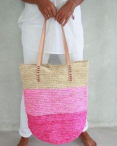 Rosa Stroh Tasche, Strandtasche Stroh, Sommer Stroh Tasche, Strandtasche, große Stroh-Tasche