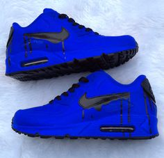 Nike Air -Sapphire Flavor bluberry matte paint with a black drip! Sneakers Vans, Air Max Sneakers, Sneakers Fashion, Green Sneakers, Sneakers Women, Nike Air Shoes, Nike Shoes Outlet, Shoes Sport, Hype Shoes