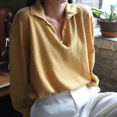 SOLD Vintage unisex mustard yellow soft 100% wool sweater polo, best fits s-m. DM or comment for details. $38 + shipping.