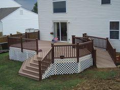 Handicap Deck Ramp Design Decks in Backyard Deck With Ramp Ramp Design, Deck Design, House Design, Handicap Accessible Home, Handicap Ramps, Porch With Ramp, House With Porch, Mobile Home Deck, Mobile Homes