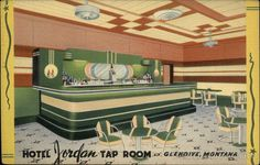 Streamline Deco linen advertising postcard for Hotel Jordan Tap Room, Glendive, MT.