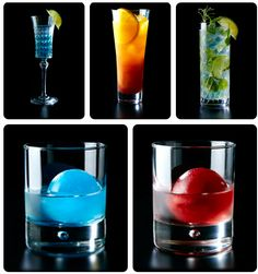Final Fantasy themed alcoholic beverages at Square Enix's specialty cafe Artnia in Tokyo (from top-left clockwise):  Shiva (white rum, white curaçao, lychee, lemon juice) Ifrit (white rum, white curaçao, orange juice, crème de cassis) Elixir (white rum, mint, rosemary, Elixir Végétal, soda, lime) Red Materia (gin, lime juice, crème de cassis) Blue Materia (gin, lime juice, blue curaçao)