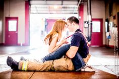 Engagement pics at Atlanta Fire Station 20 by Christopher Brock