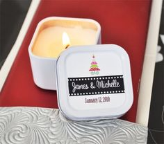 Mini Square Personalized Holiday Candle Favor by Beau-coup