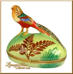 Exotic Golden Pheasant in the Meadow Limoges Box (Rare)