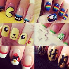 Pacman, Nyan Cat, Pikachu, Mario, Angry Birds and Harry Potter nails!