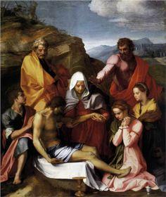 Pietà with Saints - Andrea del Sarto.  1523-24.  Oil on panel.  239 x 199 cm.  Galleria Palatina, Palazzo Pitti, Florence, Italy.
