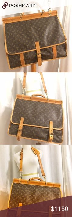 """Vintage LOUIS VUITTON Monogram Hunting 2745 Louis Vuitton Monogram Canvas Sac Chien Hunting shoulder bag suitcase. This Hunting bag is a really great bag for traveling. The Hunting bag measures approximately 19"""" x 16"""" x 9"""", and is a great size to travel with. It is perfect for a weekend excursion, the gym, for work, or for everyday, and it will easily hold all of your necessities.  This suitcase is cabin sized and falls within FAA sizing guidelines for carry on luggage.  Comes with…"""