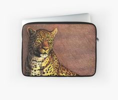 """""""Panther"""" Laptop Sleeve by Savousepate on Redbubble #laptopsleeve #drawing #panther #leopard #feline #yellow #brown"""