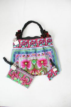 Blue HMONG Handbag With Pink Flowers In Three Bags Set In Three Bags Set Hill Tribe Thailand Fair Trade Handmade (BG121SET-BF)