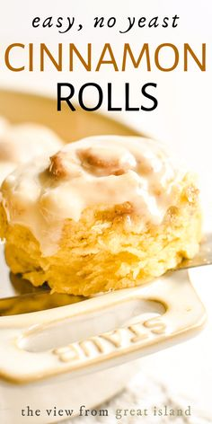 Easy no-yeast no-rise cinnamon rolls made in under an hour! A buttery fluffy biscuit dough is filled with cinnamon sugar and topped with a sweet glaze. No Yeast Cinnamon Rolls, Cinnamon Bun Recipe, Baking Recipes, Dessert Recipes, Party Desserts, Brunch Recipes, Beef Recipes, Sweet Dough, Buttery Biscuits