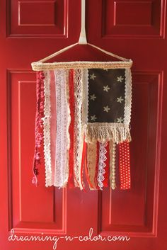 Lace, Trim, Pearls and Fabric Flag #diy #july4th #patriotic #decor