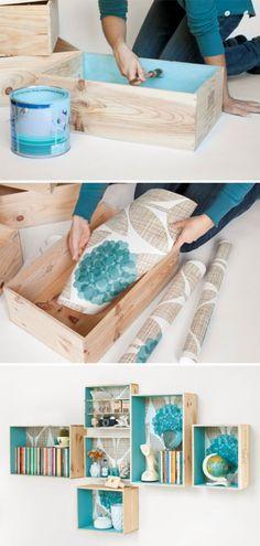 DIY Modular Crate Shelves tutorial: