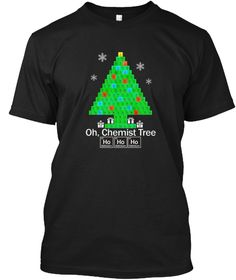 Oh Chemist Tree Hohoho Women Men Black T-Shirt Front