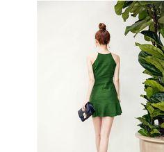 Buy chuu Halter Linen Blend A-Line Dress | YesStyle