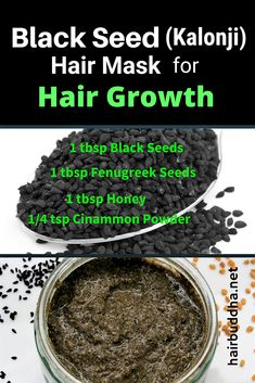 Hair Loss Remedies Black seed (kalonji) hair mask to regrow lost hair - Black Seed (Kalonji) Hair Mask is packed with powerful antioxidants and medicinal properties to propel hair growth. Use weekly to grow thick, lustrous hair of your dreams. Hair Remedies For Growth, Hair Growth Tips, Hair Loss Remedies, Fenugreek For Hair, Ayurvedic Hair Care, Hair Pack, Black Seed, Oily Hair, Hair Regrowth