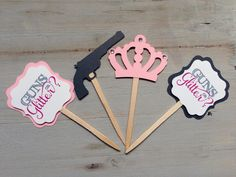GUNS OR GLITTER Gender reveal baby shower Thank by papermeblossom