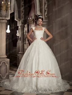 Modest A-line / Princess Square Court Train Satin and Tulle Embroidery Wedding Dress- $306.16