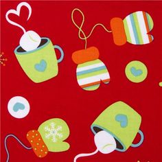 red Riley Blake Christmas fabric cute mittens  cute fabric with mittens, hot chocolate & snowflakes from the USA