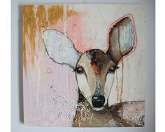 Original deer painting whimsical boho mixed by thesecrethermit