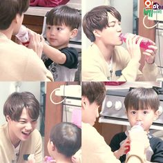 @sbs_ohmybaby's IG Update : Oh! My Baby - Kai and Taeoh sharing a drink