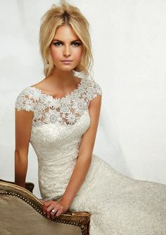 AF Couture Mori Lee Lace Cap Sleeve Wedding Dress