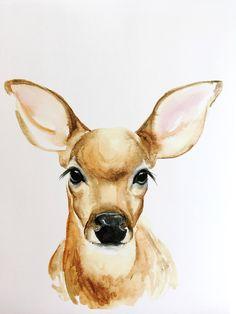 Watercolor Animals, Watercolor Print, Watercolor Paintings, Animal Paintings, Animal Drawings, Art Drawings, Corgi Facts, Deer Drawing, Frida Art