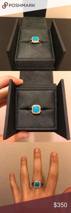 David Yurman turquoise Petite Albion ring Stunning and classic ring with turquoise stone and diamonds. 100% authentic and comes with box and ring bag. No signs of wear. I tried to make size 6.5 work for me, but it's just too big. Hoping to find it a new owner! Price is firm, but willing to trade for the same ring size 6. Please do not bundle this item. Thanks for looking! David Yurman Jewelry Rings