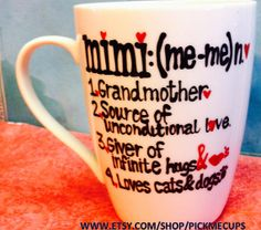 mimi mug i love mimi  i love nana mug  family member by PickMeCups, $20.00