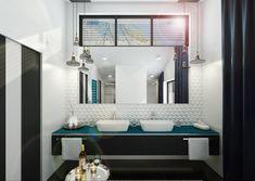 Černo bílá koupelna v lesku | AŤÁK DESIGN Bathroom Lighting, Mirror, Furniture, Design, Home Decor, Bathroom Light Fittings, Bathroom Vanity Lighting, Decoration Home, Room Decor