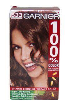 100% Color Vitamin Enriched Gel-Creme Color -533 Medium Golden Brown by Garnier 1 Application Hair Color for Unisex -- Click image for more details.