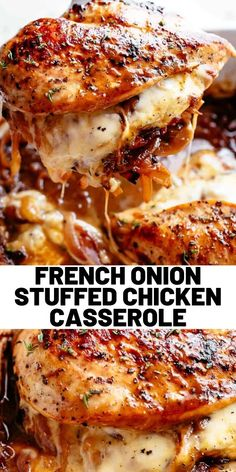 chicken recipes French Onion Stuffed Chicken Casserole makes for a delicious dinner! Juicy, succulent chicken breasts stuffed with caramelized onions and glorious melted cheese. A perfect weeknight or weekend dinner. Low Carb and Keto approved! Crock Pot Recipes, Lunch Recipes, Casserole Recipes, Great Recipes, Cooking Recipes, Favorite Recipes, Healthy Recipes, Tasty Dinner Recipes, Yummy Recipes