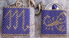 Beaded Scorpio sign mini purse keychain PATTERN