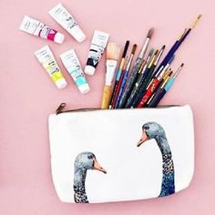 IMM Living The Dancing swan Black Swan Pencil Case Cotton/Polyester Canvas